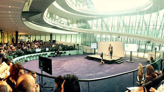 Image: The C40 Financing Sustainable Cities Forum gets underway at City Hall. Credit: Acclimatise.